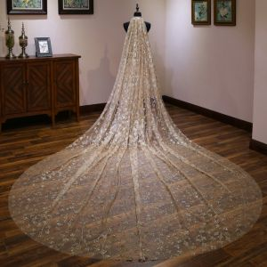 Sparkly Bling Bling Gold Wedding Veils 2020 Glitter Sequins Chapel Train Wedding Accessories