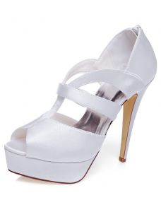 Elegant White Wedding Sandals 5 Inch Stiletto Heels With Platform Peep Toe Bridal Shoes