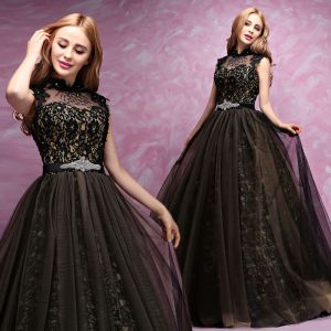 Luxury / Gorgeous Black Gold Prom Dresses 2017 Ball Gown Lace Beading Crystal Rhinestone High Neck Backless Sleeveless Floor-Length / Long Formal Dresses