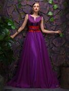 2016 Atemberaubenden Schaufel V-ausschnitt Lila Satin Tüll Abendkleid Mit Spitze Schärpe