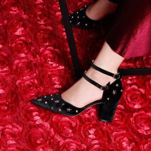 Moderne / Mode Noire 7 cm Talons Hauts 2019 À Bout Pointu Été Cocktail Soirée Cuir Perlage Rivet Lanières Chaussures Femmes