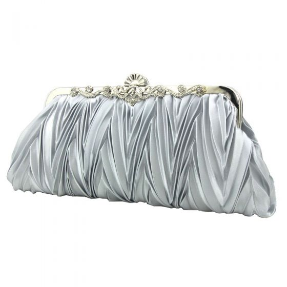Classic Elegant Silver Clutch Bags Striped Beading Rhinestone Velour Wedding Cocktail Party Accessories 2019