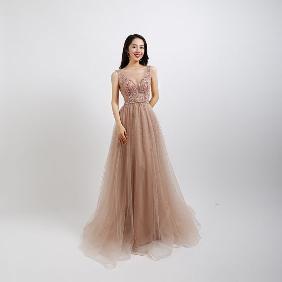 Sexy Perle Rose Robe De Bal 2020 Princesse Transparentes Col v profond Sans Manches Perlage Perle Faux Diamant Longue Volants Dos Nu Robe De Ceremonie
