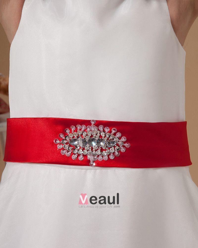 Satin Organza Sewing Beads Handmade Flower Girl Dresses