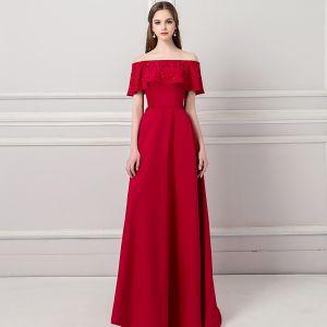 Moderne / Mode Bordeaux Robe De Soirée 2018 Princesse De l'épaule Manches Courtes Perlage Ceinture Train De Balayage Volants Dos Nu Robe De Ceremonie