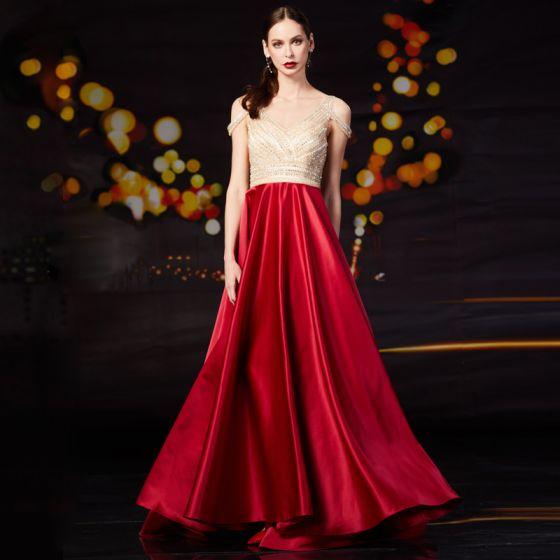 Mode Rode Satijn Galajurken 2020 A lijn V-Hals Korte Mouwen Kralen Rhinestone Sweep Trein Ruche Ruglooze Gelegenheid Jurken