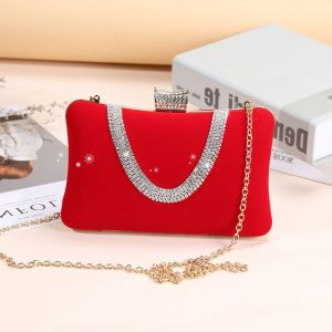Chic / Beautiful Red Clutch Bags Beading Rhinestone Velour Cocktail Party Evening Party Accessories 2019