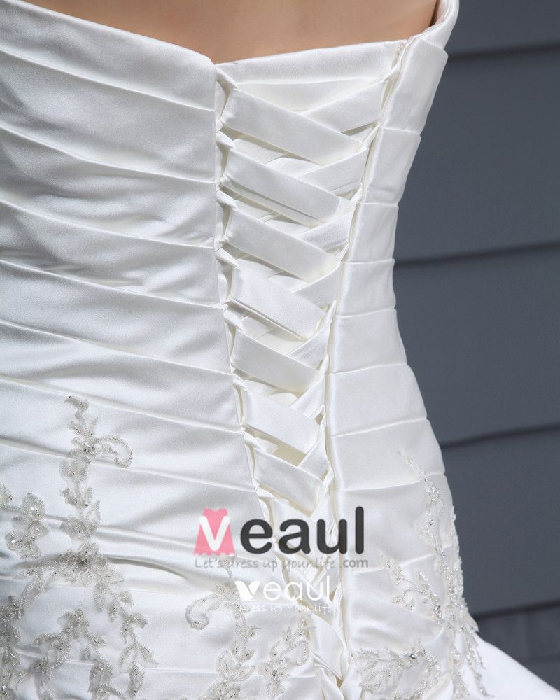 Satin Strapless Pleated Bead Chapel Train A-Line Wedding Dress