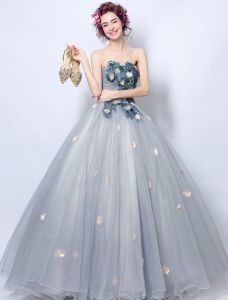 Flower Fairy Prom Dresses 2017 Strapless Applique Flowers Beading Sequins Blue-grey Tulle Dress