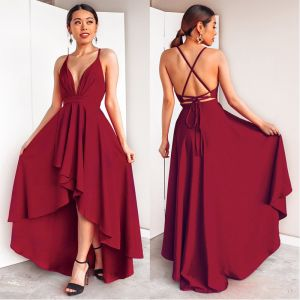 Chic / Beautiful Burgundy Maxi Dresses 2018 A-Line / Princess Bow Asymmetrical Spaghetti Straps Plunging Cross-Back Sleeveless Womens Clothing