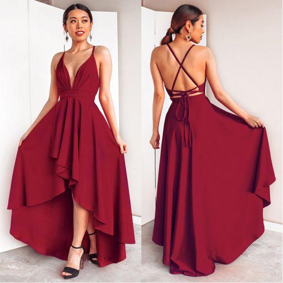 Chic / Beautiful Burgundy Maxi Dresses 2018 A-Line / Princess Bow Asymmetrical Spaghetti Straps Plunging Cross-Back Sleeveless Womens Clothing