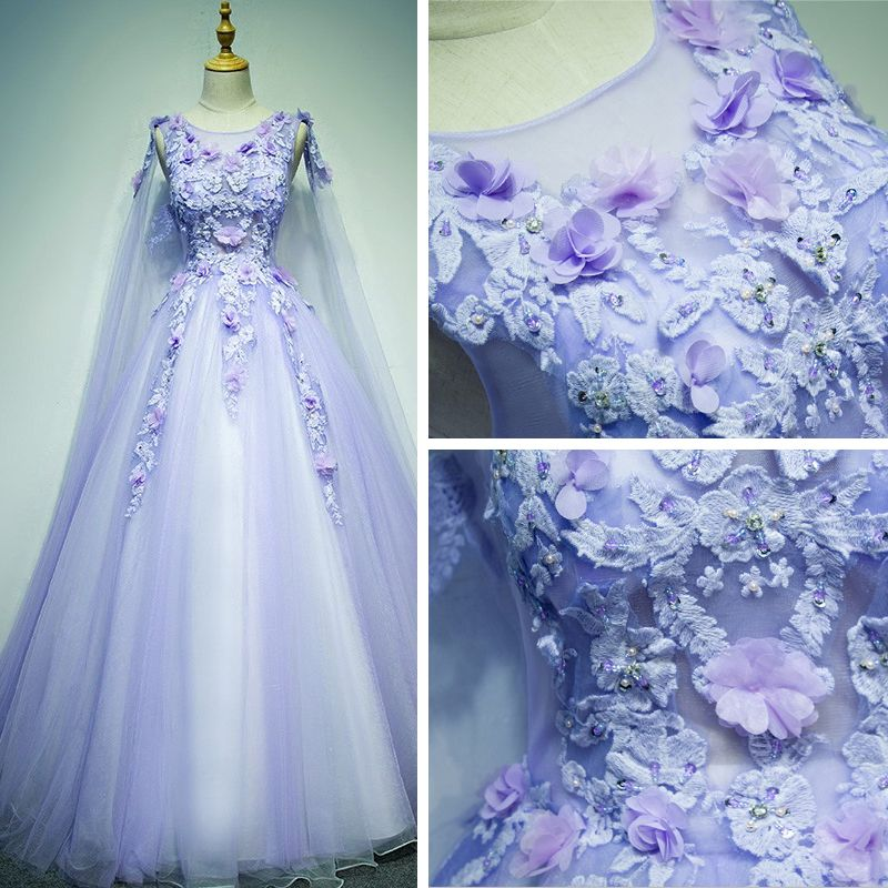 Chic / Beautiful Prom Dresses 2017 Lace Appliques Rhinestone Pearl Sleeveless Scoop Neck Backless Cathedral Train Lilac Ball Gown