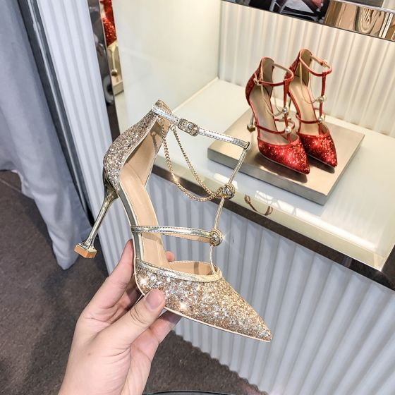 Sparkly Gold Sequins Wedding Shoes 2020 Ankle Strap 10 cm Stiletto Heels Pointed Toe Wedding Heels