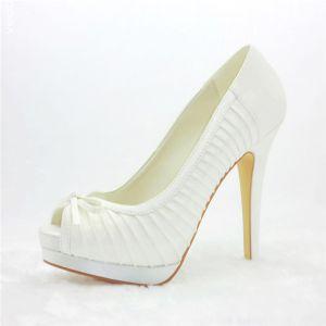 Chics Plissés Chaussures De Mariée Talons Aiguilles Talon Haut Peep Toe Escarpins Plateforme