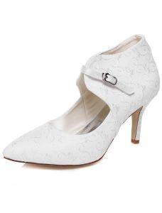 Elegante Kant Bruidsschoenen Naaldhakken Witte Trouwschoenen Enkellaarsjes