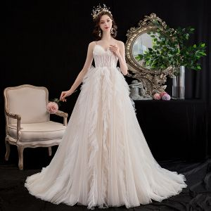 Affordable Champagne Wedding Dresses 2020 A-Line / Princess Spaghetti Straps Sleeveless Backless Appliques Lace Sweep Train Ruffle