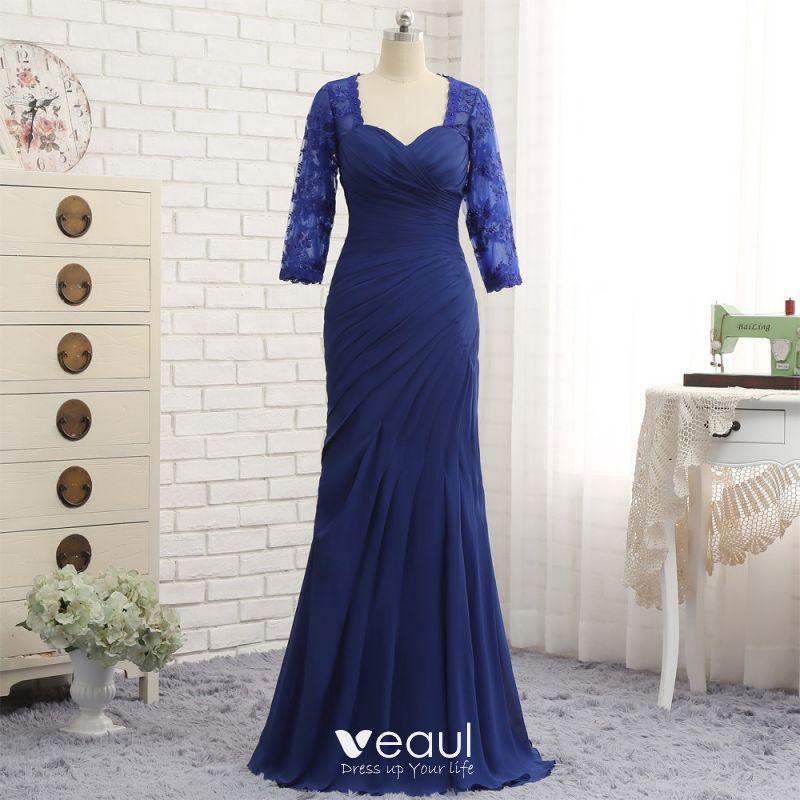Vintage Azul Real Vestidos De Madrina 2019 De Encaje Gasa V Cuello Apliques Rebordear Bordado Rhinestone Colas De Barrido Lglesia Trumpet Mermaid