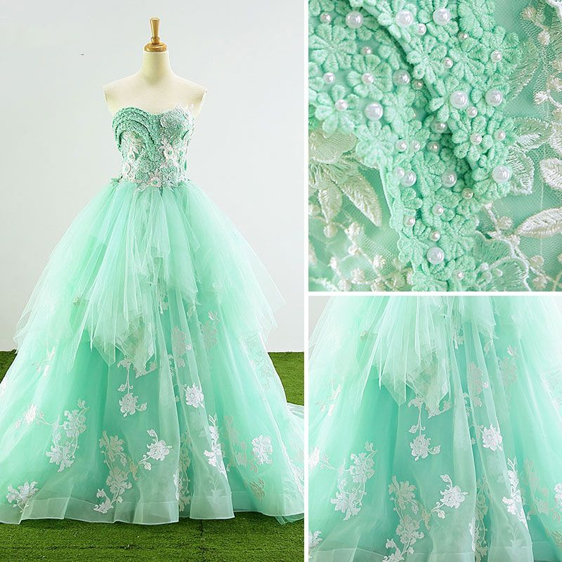 Handmade  Ball Gown Prom Dresses 2017 Sweetheart Sleeveless Sweep Train Beading Pearl Rhinestone Appliques Lace Backless Flower Formal Dresses