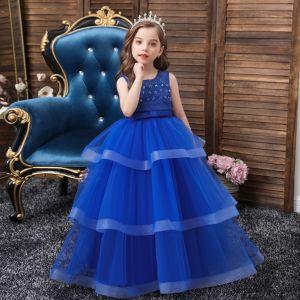 Piękne Królewski Niebieski Urodziny Sukienki Dla Dziewczynek 2020 Suknia Balowa Wycięciem Bez Rękawów Bez Pleców Frezowanie Perła Kokarda Szarfa Długie Kaskadowe Falbany