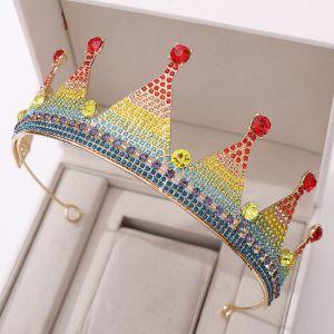Regenboog Multi-Kleuren Verjaardag Tiara 2020 Legering Rhinestone Accessoires