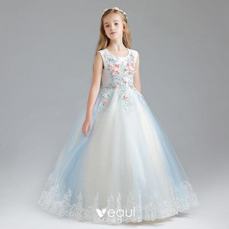 Piękne Błękitne Sukienki Dla Dziewczynek 2017 Suknia Balowa Wycięciem Bez Rękawów Aplikacje Kwiat Z Koronki Cekiny Długie Wzburzyć Sukienki Na Wesele