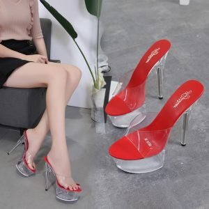 Sexy Red Cocktail Party Crystal Womens Sandals 2020 15 cm Stiletto Heels Open / Peep Toe Sandals