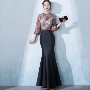 Stylowe / Modne Czarne Długie Sukienki Wieczorowe 2018 Syrena / Rozkloszowane Wysokiej Szyi Tiulowe Haftowane Aplikacje Bez Pleców Frezowanie Wieczorowe Sukienki Wizytowe