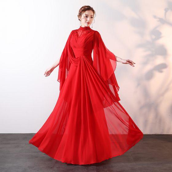 ae01cd78cf Stylowe   Modne Czerwone Długie Sukienki Wieczorowe 2018 Princessa Wysokiej  Szyi Tiulowe Frezowanie Rhinestone Wykonany Ręcznie Wieczorowe Sukienki  Wizytowe