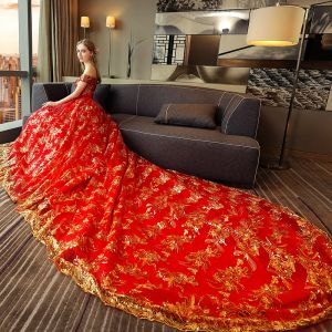 Luxury / Gorgeous Red Wedding Dresses A-Line / Princess 2018 Lace Sequins Off-The-Shoulder Sleeveless Backless Royal Train Wedding