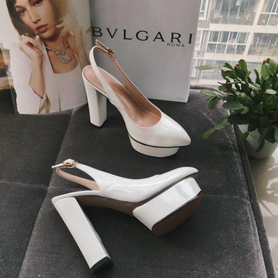 Mooie / Prachtige Witte Toevallig Slingbacks Sandalen Dames 2020 Leer 12 cm Dikke Hak Spitse Neus Sandalen
