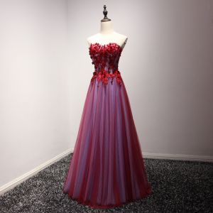 Hermoso Vestidos Formales 2017 Vestidos de noche Rojo A-Line / Princess Largos Sweetheart Sin Mangas Sin Espalda Con Encaje Apliques Rebordear Rhinestone