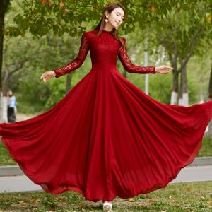 Chic / Beautiful Burgundy Casual Maxi Dresses 2018 A-Line / Princess Lace Scoop Neck Long Sleeve Floor-Length / Long Women's Clothing