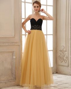 Tulle Beading Pleated Sweetheart Floor Length Evening Dresses