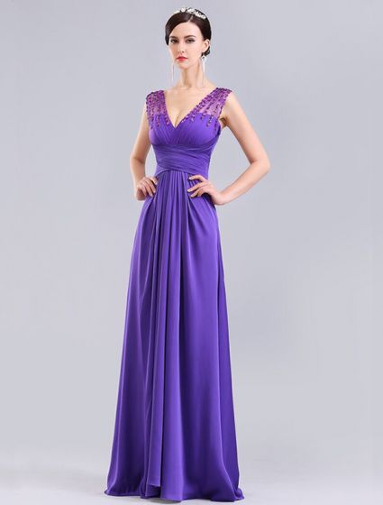 Elegant Purple Formal Dress Long Evening Dress With Crystal For 2016 New Year Eve