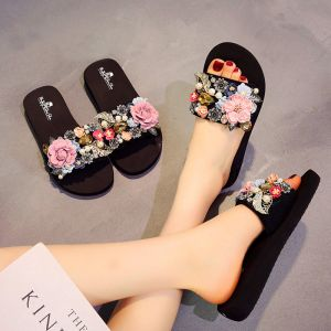 Modern / Fashion Black Summer Casual Slipper & Flip flops 2018 Appliques Crystal Pearl 5 cm Platform Wedges Open / Peep Toe Womens Shoes