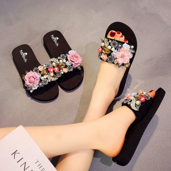 Modern / Fashion Black Summer Casual Slipper & Flip flops 2018 Appliques Crystal Pearl 5 cm Platform Wedges Open / Peep Toe Womens Shoes