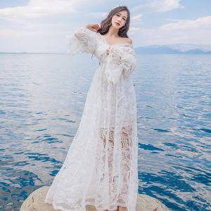 Élégant Été Plage Blanche Robes longues 2018 Empire De l'épaule Manches Longues Longue Volants Dos Nu Vêtements Femme
