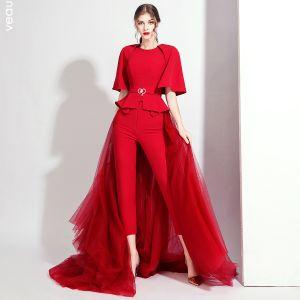 Fashion Burgundy Jumpsuit With Shawl 2020 Scoop Neck Sleeveless Rhinestone Sash Detachable Sweep Train Evening Dresses