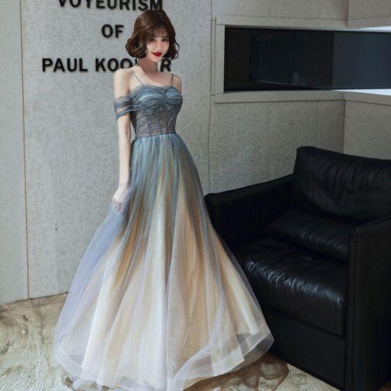 Charming Gradient-Color Grey Prom Dresses 2020 A-Line / Princess Spaghetti Straps Glitter Star Sequins Short Sleeve Backless Floor-Length / Long Formal Dresses