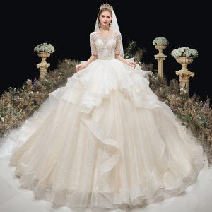 Charming Ivory Glitter Cascading Ruffles Wedding Dresses 2020 Ball Gown Scoop Neck Beading Lace Flower 1/2 Sleeves Backless Cathedral Train