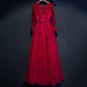 Hermoso Rojo Vestidos Formales 2017 Flor De Encaje Rebordear 3/4 Ærmer Largos A-Line / Princess Vestidos de noche