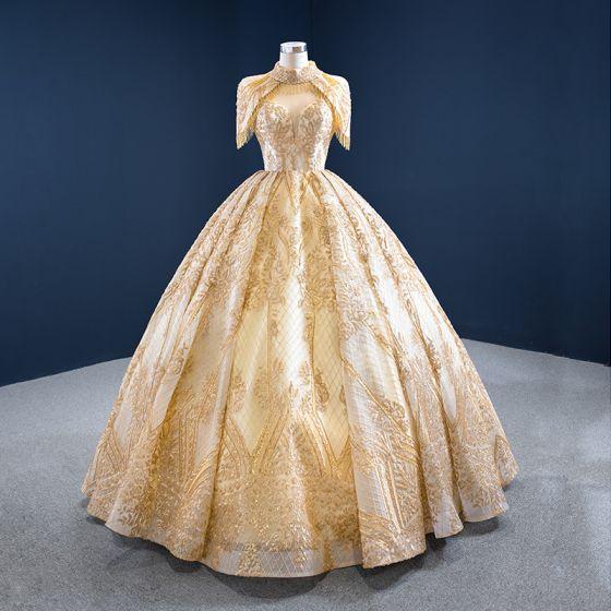Luxe Doré La Mariée Robe De Mariée 2020 Robe Boule Col Haut Manches Courtes Dos Nu Perlage Gland Paillettes Longue Volants