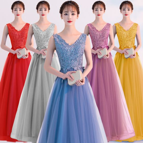 Erschwinglich Blau Abendkleider 2019 A Linie V-Ausschnitt Spitze Blumen Ärmellos Rückenfreies Lange Festliche Kleider