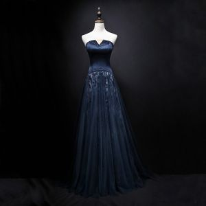 Chic / Beautiful Navy Blue Evening Dresses  2018 A-Line / Princess Crystal Strapless Sleeveless Backless Floor-Length / Long Formal Dresses