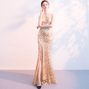 Chinese style Champagne Evening Dresses  2018 Trumpet / Mermaid Sequins Rhinestone High Neck Sleeveless Floor-Length / Long Formal Dresses