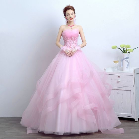Chic / Beautiful 2017 Blushing Pink Wedding Dresses Lace Appliques Backless Corset Strappy A-Line / Princess Wedding Prom Dresses