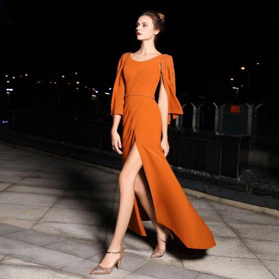 Mote Orange Selskapskjoler 2019 Trompet / Havfrue Scoop Halsen Langermede Rhinestone Feie Tog Formelle Kjoler