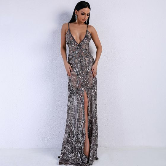Sexy Grey See-through Evening Dresses  2020 Trumpet / Mermaid Spaghetti Straps Sleeveless Sequins Split Front Floor-Length / Long Backless Formal Dresses