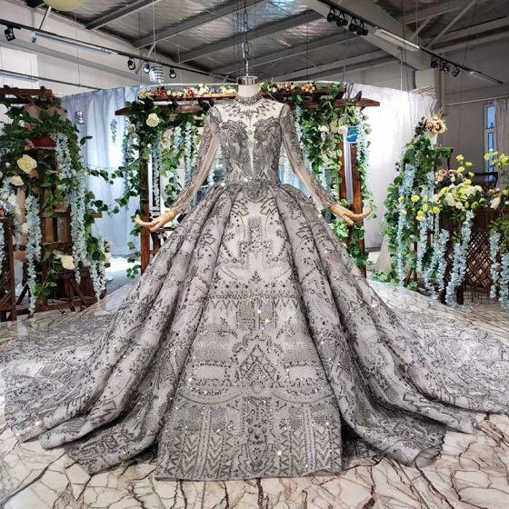 Najpiękniejsze / Ekskluzywne Czarne Suknia Balowa Suknie Ślubne 2020 Długie Rękawy Wycięciem Skrzyżowane Pasy Wykonany Ręcznie Bez Pleców Frezowanie Kryształ Rhinestone Cekiny Trenem Katedra Ślub