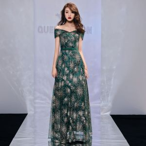 Bling Bling Dark Green Evening Dresses  2019 A-Line / Princess Off-The-Shoulder Short Sleeve Bow Sash Glitter Tulle Floor-Length / Long Ruffle Backless Formal Dresses